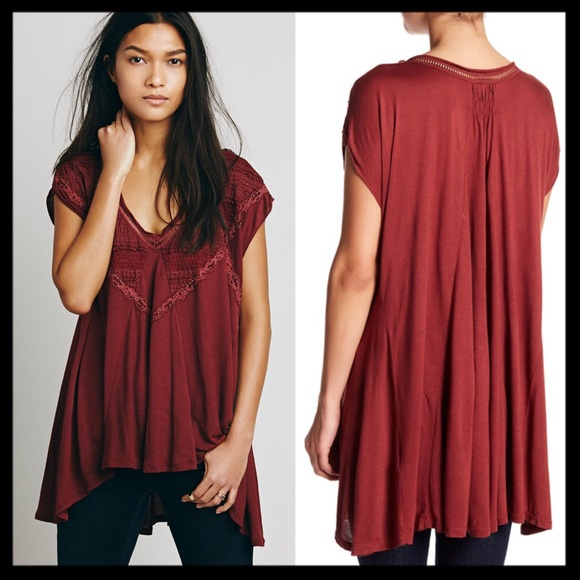 421b0f8543a2a5 free people    abigail tunic top lace cap sleeve